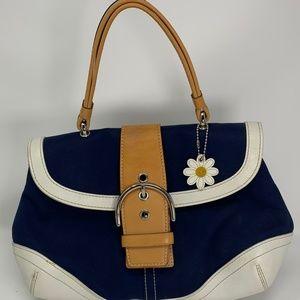 Coach Daisy Soho Buckle Flap Bag - Blue & White